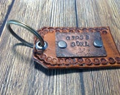 Gypsy Soul Rustic Leather Hand Tooled Keychain