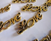 Jewelry CONNECTORS in Gold Tone, LOVE Printed Lettering, Chain, Links, Charms, Lead Safe, 33mm x 10mm, 10 Pieces