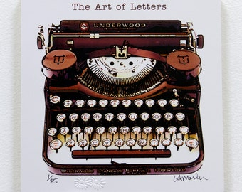 "Typewriter Wood block  - ""The Art of Letters"" - ready to hang"