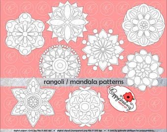 Rangoli Madala Geometric Circles Clipart SET: (300 dpi) School Teacher Coloring Pages