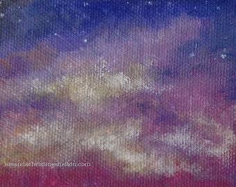 Colorful Cloud study ACEO art card by Amanda Christine Shelton