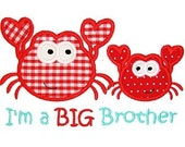 I'm a Big Brother or I'm a Lil Brother Crab Appliquéd Shirt by Rockin' the Tutu - Sibling Shirt - Big Brother Shirt - Little Brother Shirt