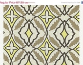 Closing Shop SALE Home Dec Fabric Yardage - Eden Premier Prints - Contemporary Tile Print- Gray, Yellow, Taupe  - 1 Yard