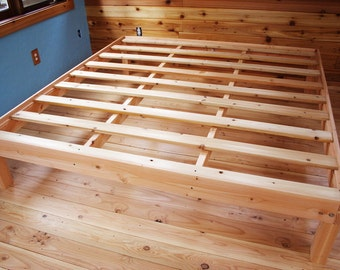 Custom queen size solid fir platform bed frame