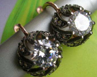 FREE SHIPPING  mid century inspired diamond look sterling earring
