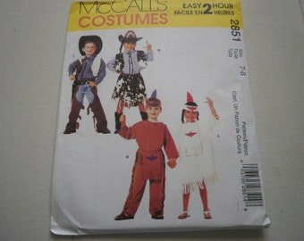 Pattern Costumes Children Cowboys and Indians Sizes 7-8 McCalls 2851 A