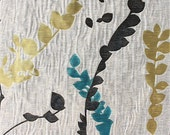 Custom Curtains in Greige with Black / Teal / Yellow-Green Leaf Pattern One Panel with lining Custom sizes available