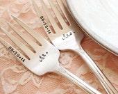 """Mr. & Mrs. with date, vintage wedding cake bride and groom """"gardenia"""" forks, hand stamped viande dinner forks"""