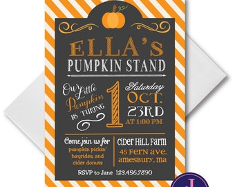 Pumpkin Birthday invitation, digital, printable file, fall birthday, pumpkin birthday, chalkboard, vintage