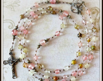 Girl's Confirmation Rosary in Mixed Cherry Quartz w/ Bronze Holy Spirit Center
