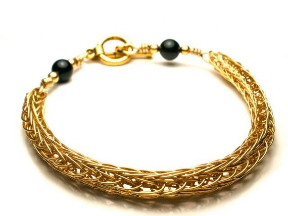 Double Viking Knit Bracelet in Gold with Black Bead Accents