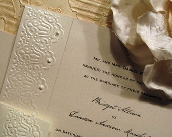 Fifth Avenue Collection Invitation Suite - FA201416 - Opal Shimmer vintage-inspired Lace embossing with Swarovski Pearls