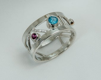 Topaz and garnet sterling silver ring