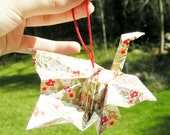 Gold Origami Peacock Crane Ornament