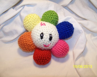 Crochet Baby flower rattle ANY colors you want Baby