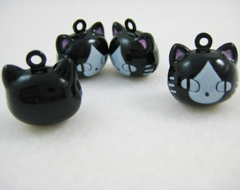 4 Pieces Black Kitty Cats Animal Jingle Bell Charm