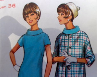 60s Dress and Coat Pattern Bias Roll Collar Butterick 4353 Bust 36 MOSTLY UNCUT Mad Men Style