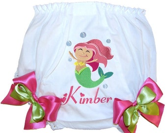 Personalized Mermaid Baby Girl Bloomers, Diaper Cover