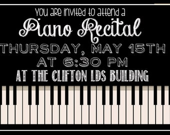 Customize Piano Recital Invitation