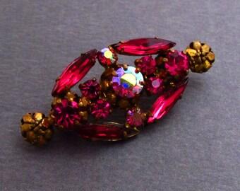 Fuchsia & Brass Rhinestone Pin