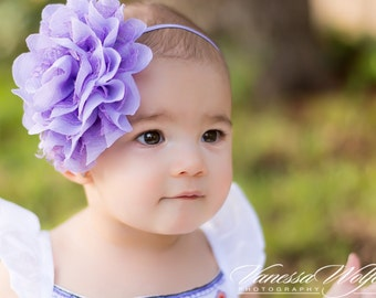Purple baby headband, chiffon and lace headband,  lavender flower headband, OTT headband, OTT flower headband, lavender headband