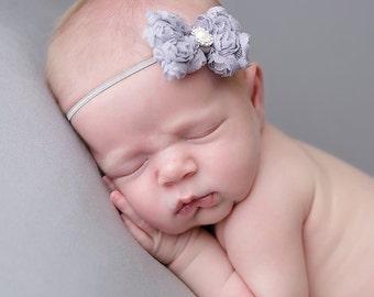 Grey baby headband,  infant headband, newborn headband, grey bow headband, photo prop, grey/gray baby headband, grey headband