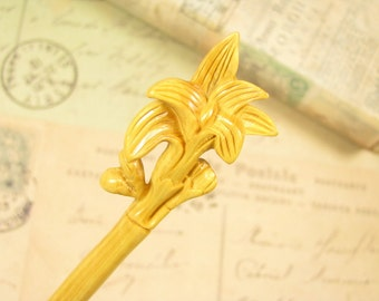 Exquisite Boxwood Wooden Hair Stick - Orchid Blossom