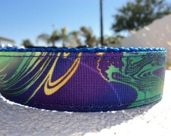 """Sale Dog Collar Rainbow Splash 1"""" wide Quick Release buckle -  no martingale limited ribbon"""