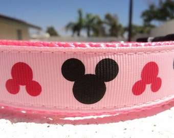 """Sale Girl Dog Collar Pink Mouse  1"""" wide Quick Release or Martingale adjustable cartoon"""