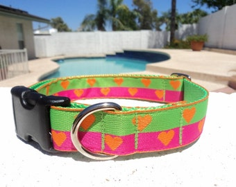 """Sale Dog Collar Candy Hearts Orange 1"""" wide side release buckle adjustable / martingale style is cost upgrade"""