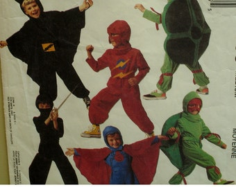 Ninja Turtle Costume Pattern, Superheroes, Batman, Superman, Jumpsuit, Hood, Cape, Shell, McCalls No. 5599 UNCUT Size 5 6