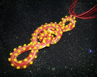Red And Yellow Swirled Tentacle Necklace