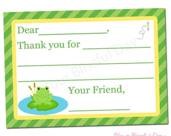 PRINTABLE Boy Frog Fill-in-the-Blank Thank You Cards #530