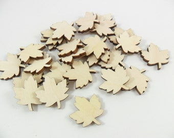"25 Wood Maple Leaves 1"" H x 15/16"" W x 1/8"" Unfinished Wood Maple Leaf Laser Cut Shapes"