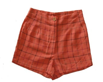 Clearance SALE / HIGH WAISTED women Shorts / Plaid Shorts / Orange red Checkered