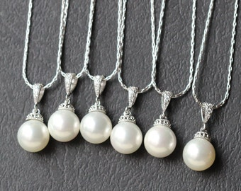 set of  7 necklace , pearl necklace , bridesmaid gift set , bridal party jewelry