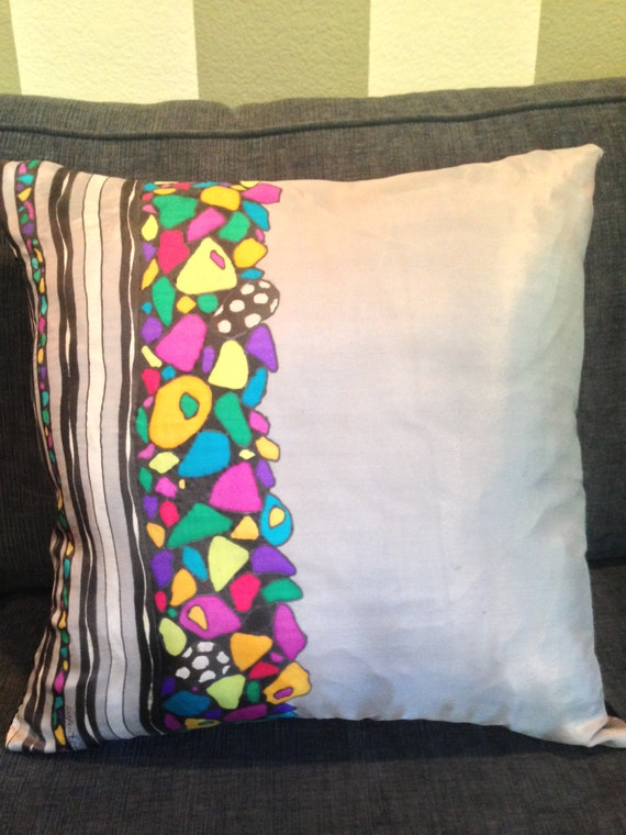 PILES OF ROCKS -Hand Painted Silk Decorative Pillow