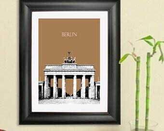 Berlin Germany City Skyline #2 - Brandenburg Gate  Art Print - 8 x 10 Choose Your Color