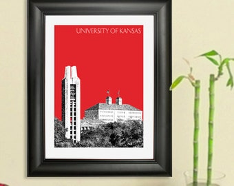University of Kansas Skyline Poster - Lawrence Kansas City Skyline - Art Print - 8 x 10 Choose Your Color