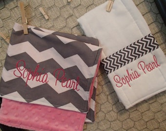 Personalized Baby Gift Set, Minky Lovey and Burpcloth