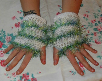White Texting Gloves With Green Fuzz
