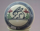 Personalized Stoneware Music Box  Puppy Dog Design with Blue banding
