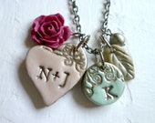Petite Family Necklace with a letter charm