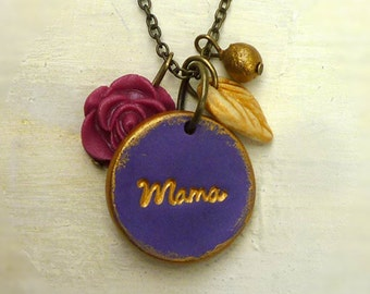 Mama necklace, Imprinted Necklace for Mama, Personal message on pendant,  Mother's Day Jewelry