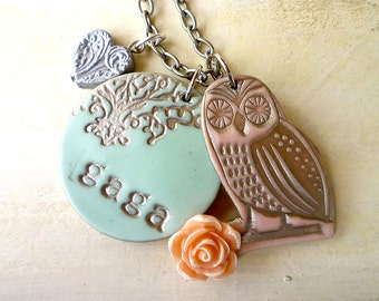 Owl Personalized Necklace - Name Necklace for Mama and Nana - Gaga necklace