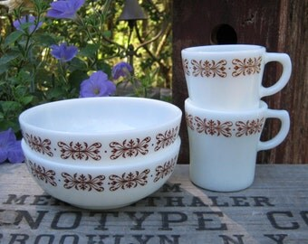 Anchor Hocking Bowls and Mugs in White Milk Glass with Brown Scroll Trim - Restaurant Ware - Fire King - Oak Hill Vintage