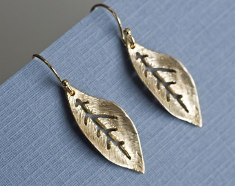 Leaf Earrings, Gold Leaf Earrings,  Everyday Jewelry, Nature Inspired Jewelry,