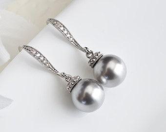 Bridesmaids Earrings, Gray Pearl Earrings, Bridal Pearl Earrings, Light Gray Wedding Earrings, Light Gray Pearls and Cubic Zirconia Earrings