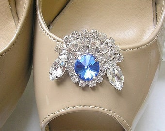 Blue Crystal Shoe Clips, wedding bridal Shoe Clips, Swarovski Jewelry shoe clips, vintage style ,Sparkling Shoe accessories