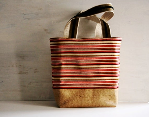 Black Tan Spicy Red Textural Weave Burlap Large Tote Bag